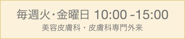 毎週火・金曜日 10:00-15:00 [完全予約制]